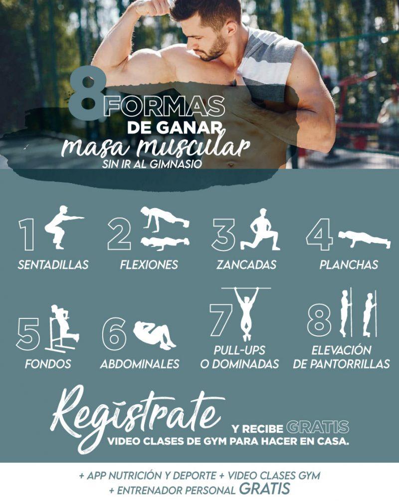 infografia 8 formas de aumentar masa muscular