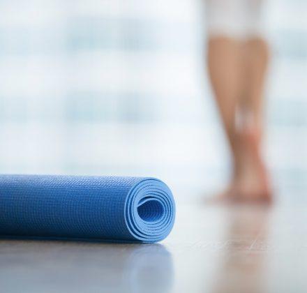 Close up of yoga, fitness mat